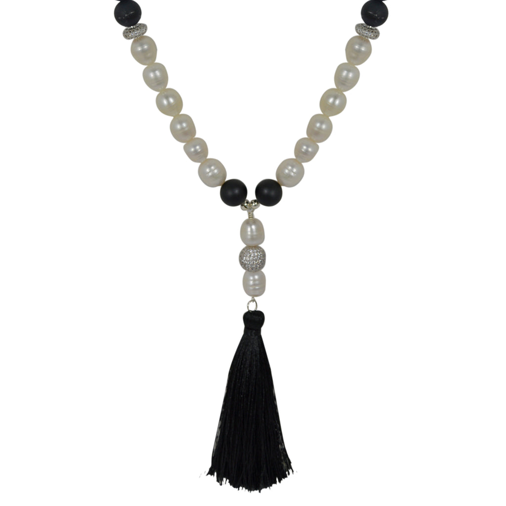 Pearl and Onyx Tassel Necklace