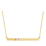 Seven Mile Single Diamond Bar Necklace 14k Yellow Gold