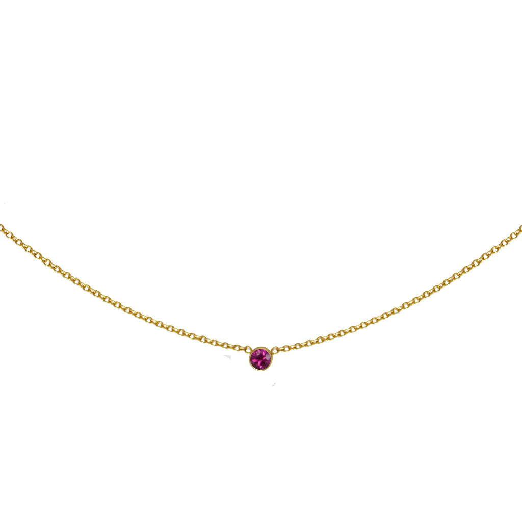 Pink Sapphire Solitaire Necklace