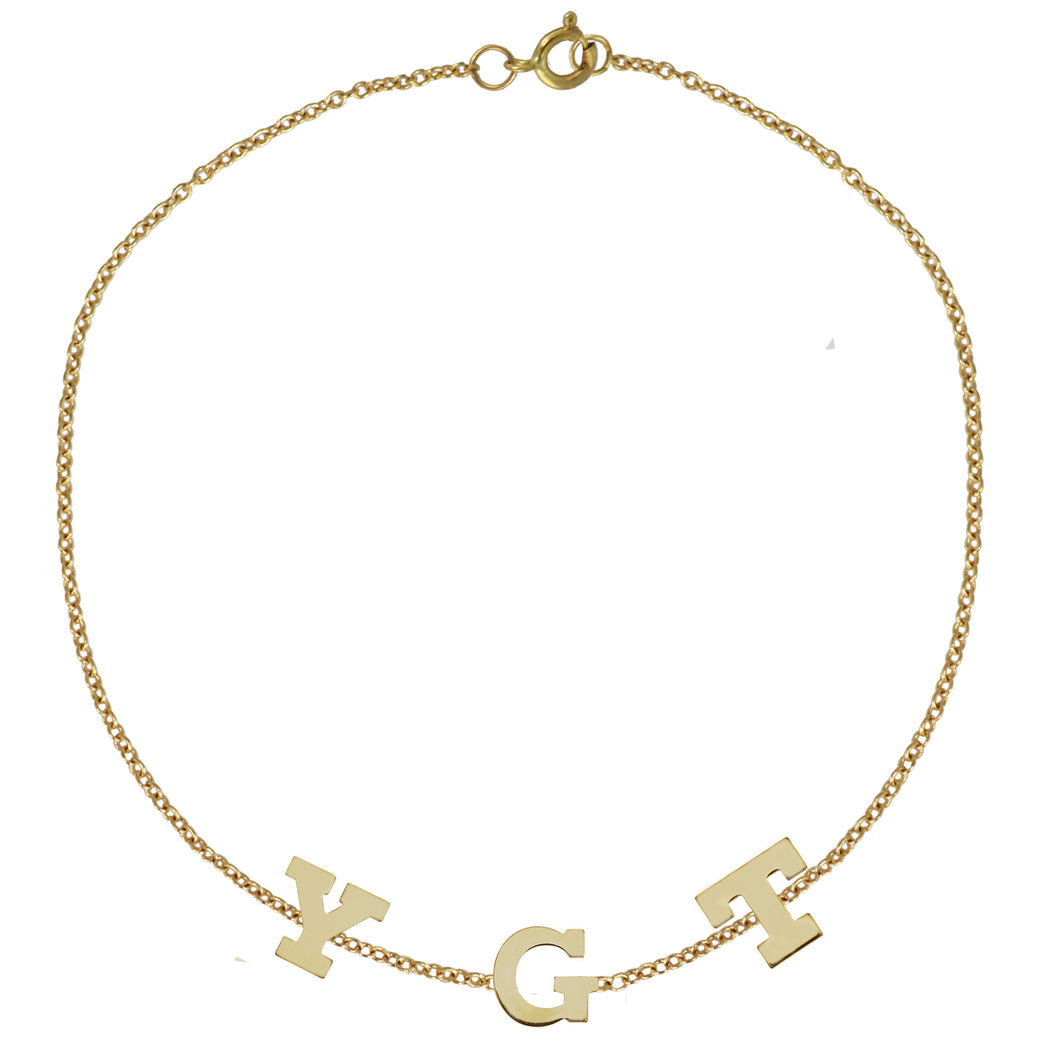 Gold Initial Bracelet by Sweet Bling - Three Initials