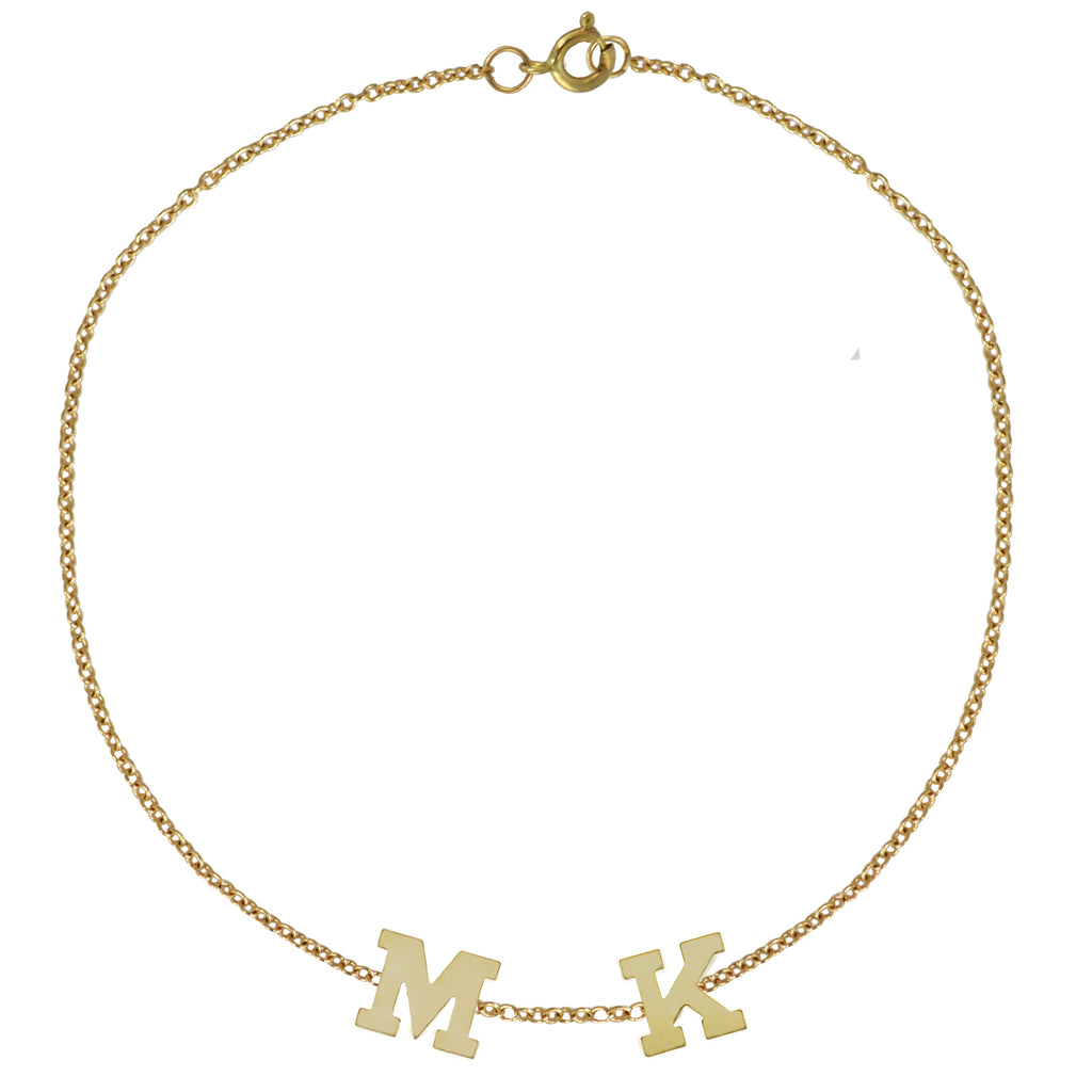 Gold Initial Bracelet by Sweet Bling - Two Initials