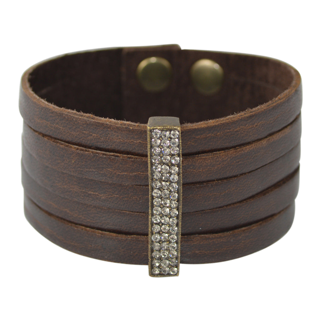 VINTAGE LEATHER STRIP CUFF WITH VERTICAL CRYSTAL BAR