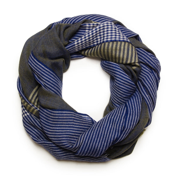 CHECKED BLUE SCARF - MENZER HAJIYEVA
