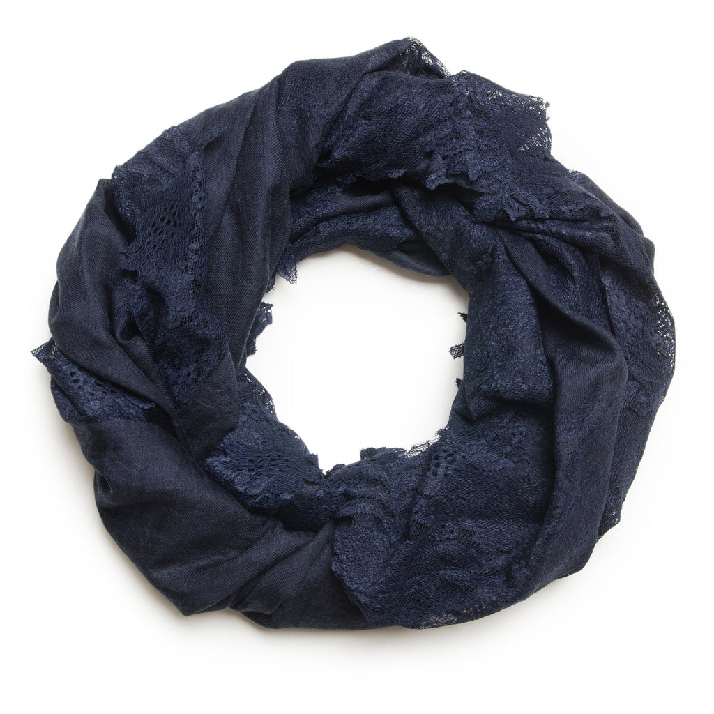 VICTORIA NAVY LACE/SILK LACE SHAWL