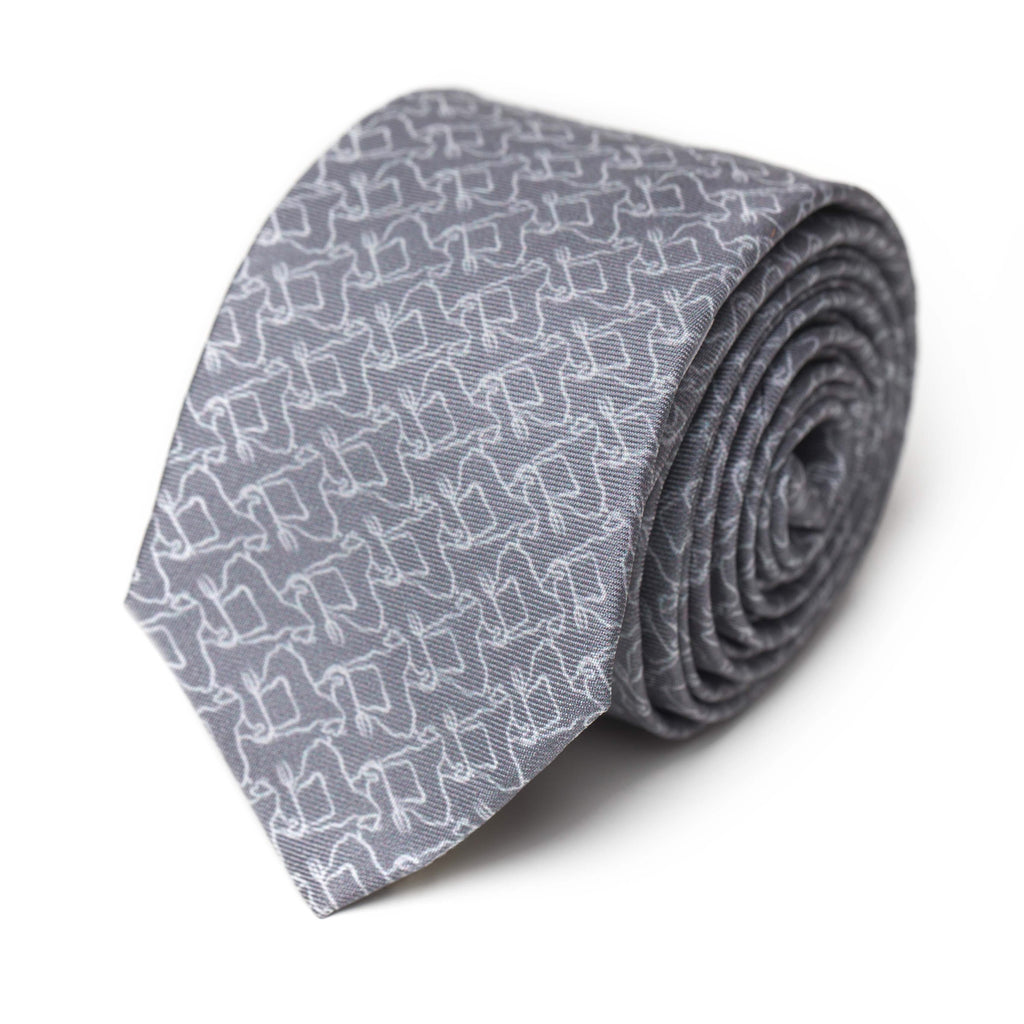 HORSEMEN-PRINT SILK TIE LIGHT GRAY