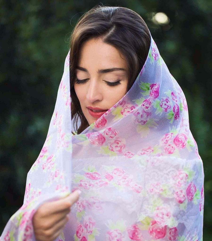 Light weight and transparent silk scarf. Luxurious silk gift for a bride-to-be. Sale item. Made in Italy silk scarf.