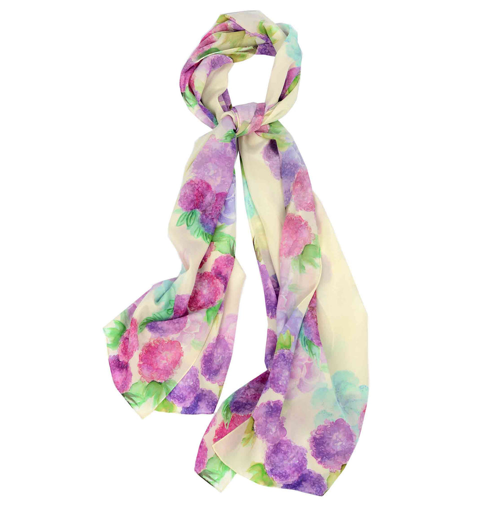 Made in Italy silk scarf illustrated with floral designs. Sale item. Luxurious silk gift for a bride-to-be. Bridal collection. Made in Italy carre scarf.