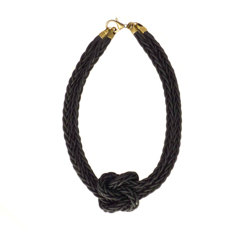 LEATHER BONITA NECKLACE IN ONYX