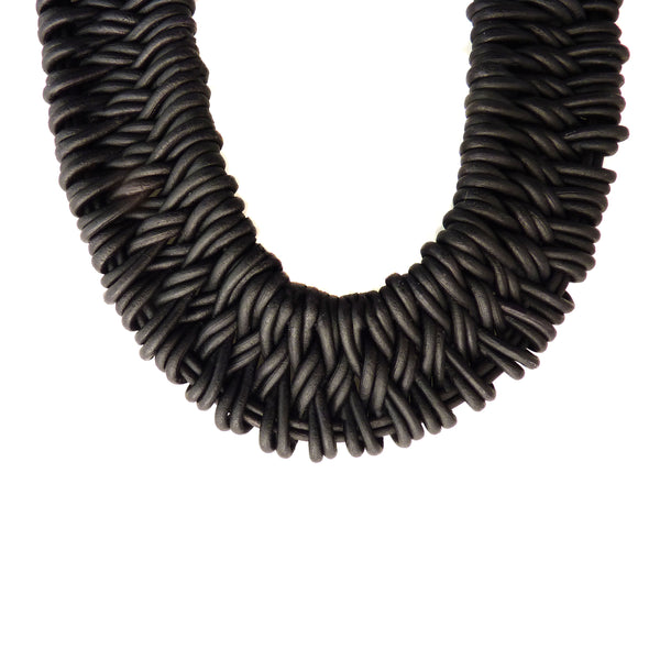 Leather Estero Hand Woven Necklace in Onyx