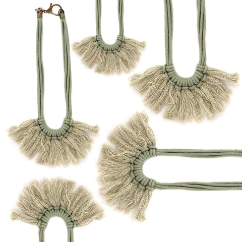 Saguaro Fringe Necklace in Cactus