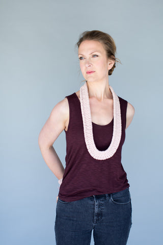 Estero Hand Woven Necklace in Hand Dyed Rose Quartz