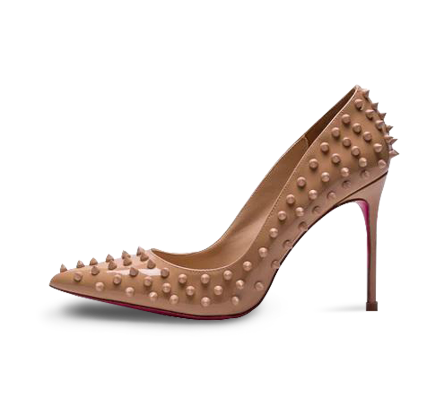 spikes pink sole high heel pumps