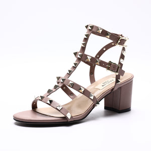 Women's Studded Caged Block Heel Sandals