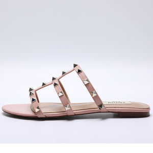 Studded Caged Slide Flat Sandals
