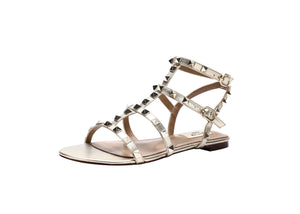 Studded Strappy Flat Caged Sandals - Kaitlyn Pan Shoes