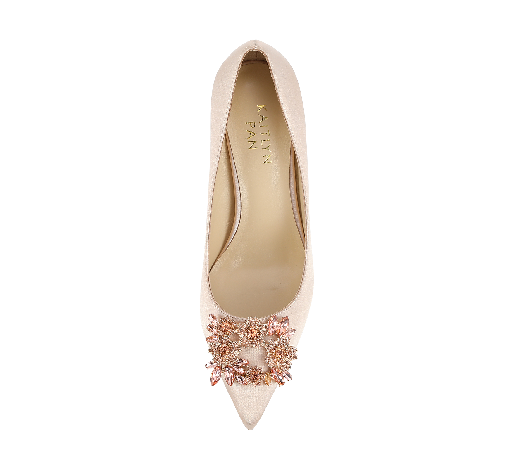 crystal buckle satin pumps