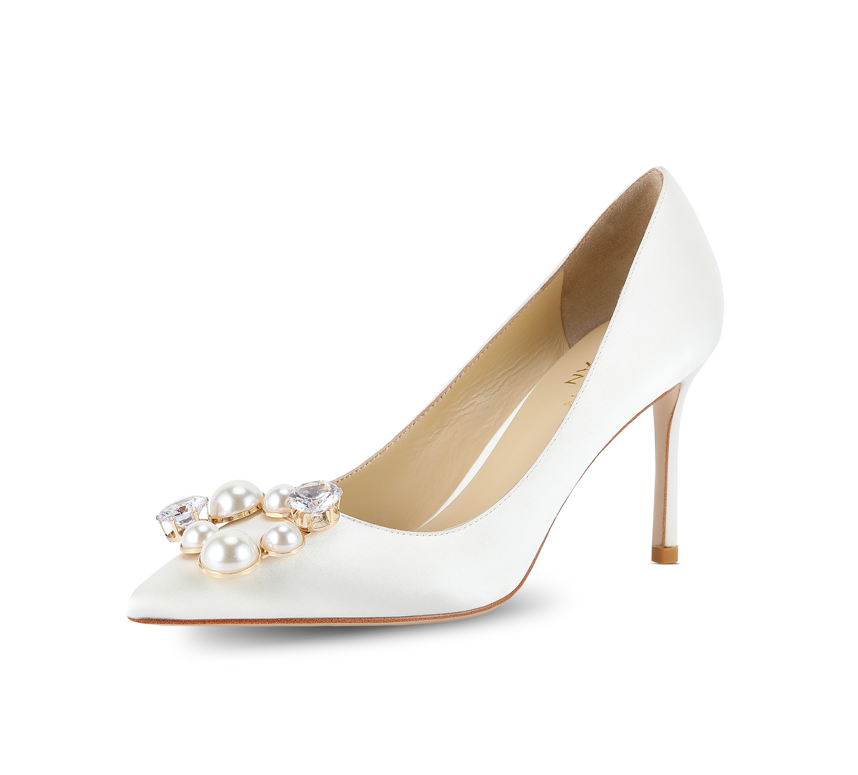 pearl buckle satin pumps