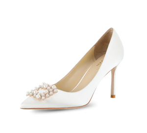 Crystal Pearl Buckled Satin Pumps