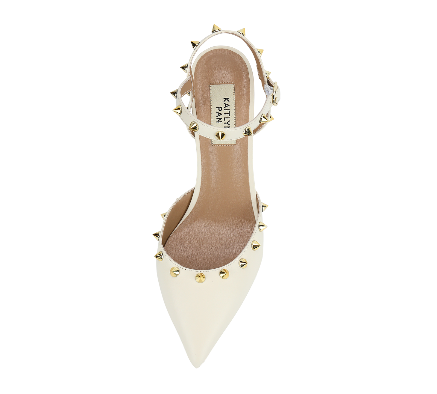pointed toe studded mid heel slingbacks