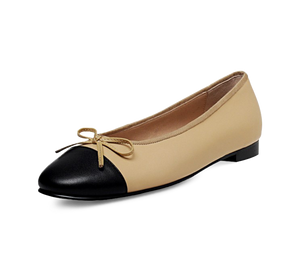 Lambskin Two Tone Bow Ballet Flats