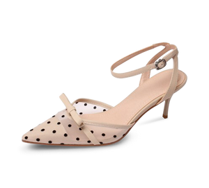 Cara Lace Dot Mid Heel Sandals