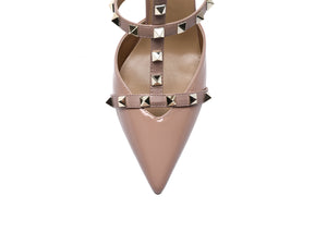 Pointed Toe Studded Slingback High Heel Leather Sandal Pumps-New