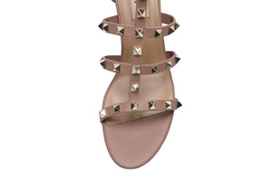 Studded Block Heel Cut Out Caged Strappy Sandals