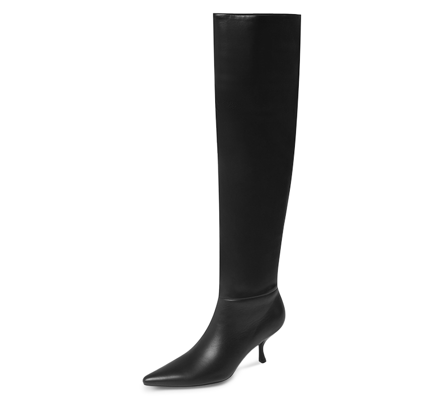 kitten heel knee high boots
