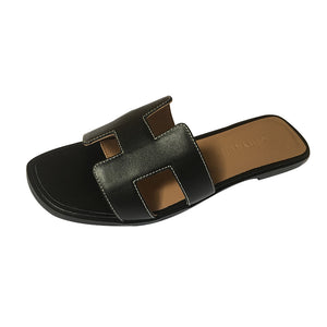 Genuine Leather Classic Cut Out Kaylee Slippers - Kaitlyn Pan Shoes