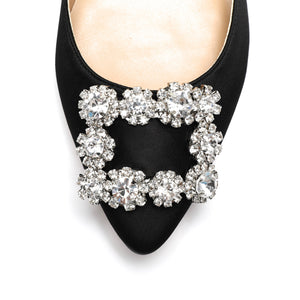 Crystal Buckle Satin Wedding Flats