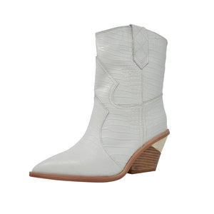 White Leather Cowboy Boots with Cut Out Heels - Kaitlyn Pan Shoes