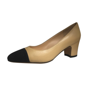 Two Tone Block Heel Pumps