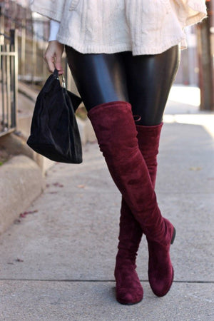 Microsuede Over The Knee Slim Fit Flat Heel Boots