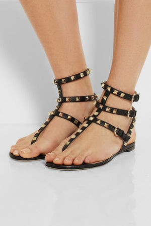 Studded Strappy Flat Thong Sandals - Kaitlyn Pan Shoes