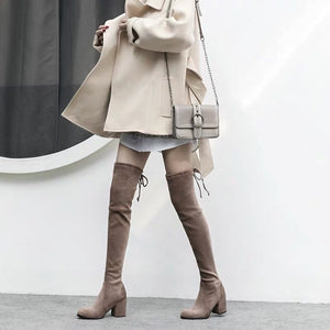 Microsuede Over The Knee Slim Fit Block Heel Boots