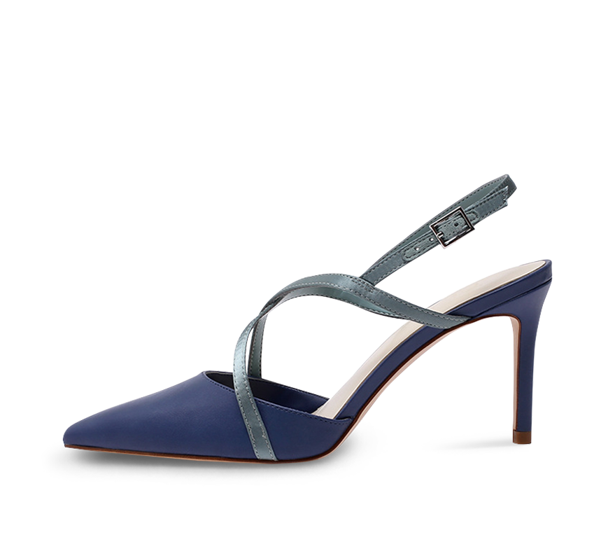 two tone pointed toe high heel slingbacks