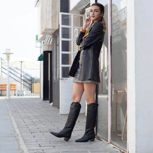 Black Studded Heel Leather Cowboy Boots - Kaitlyn Pan Shoes