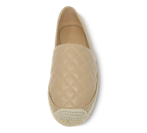 Quilted Leather Espadrille Slip-On Flats