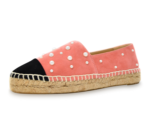 Valerie Suede Espadrille Slip-On with Pearls