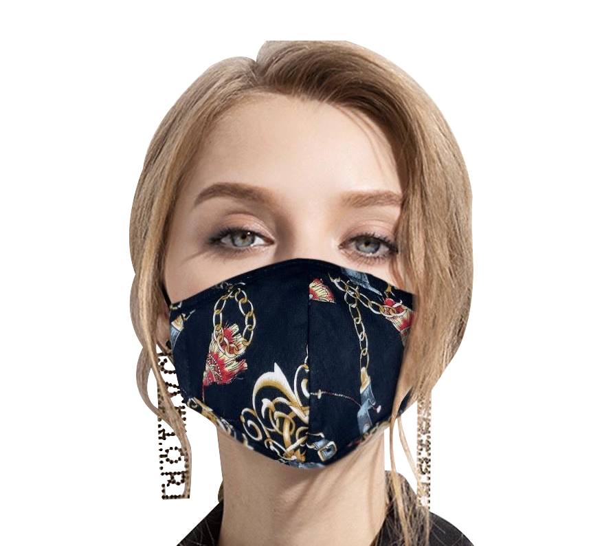 washable masks with chain print