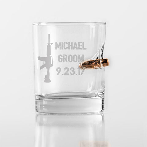 Best Man gift bullet shot glass custom etched