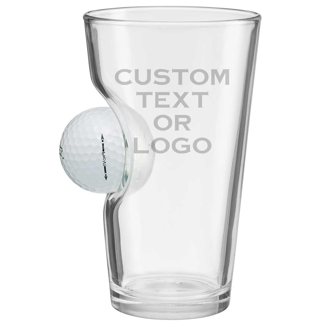 beer glass embedded with golf ball