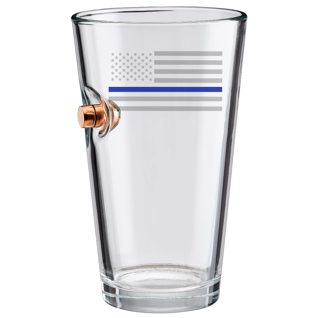 Thin blue line beer glass