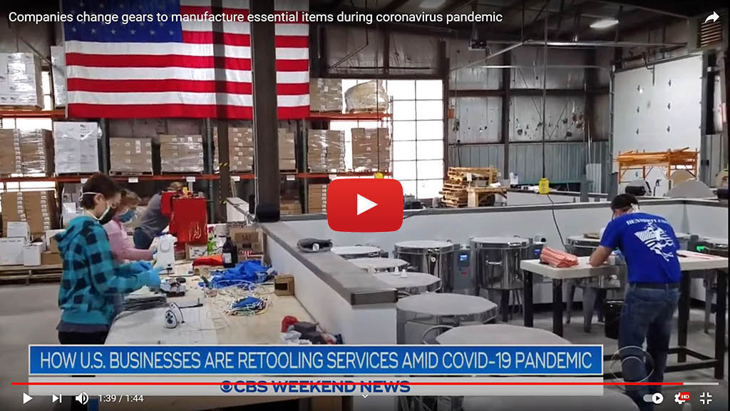 CBS Evening News video on BenShot's mask production during COVID-19 pandemic.