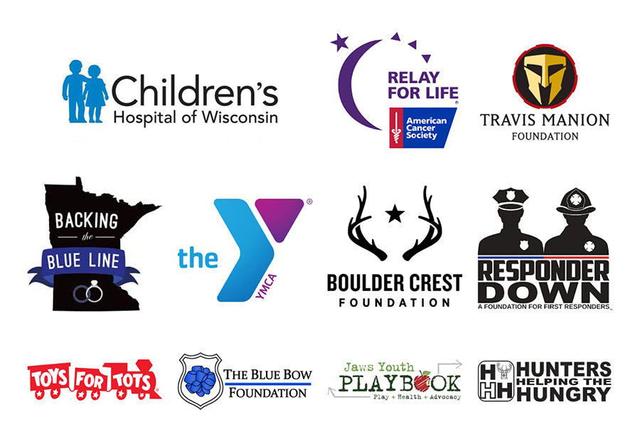 Logos of non-profit organizations that BenShot has supported through donations.