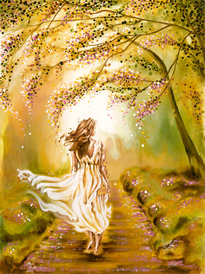 A walk in the park figure painting of a woman walking with landscape in Spring. Canvas art prints for sale