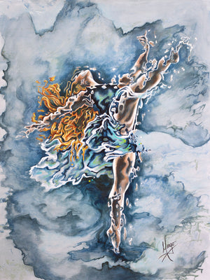 """Believe"" figurative painting of a woman dancer in blue"
