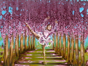 """Blossom"" ballerina girl dancing in a colorful forest painting"
