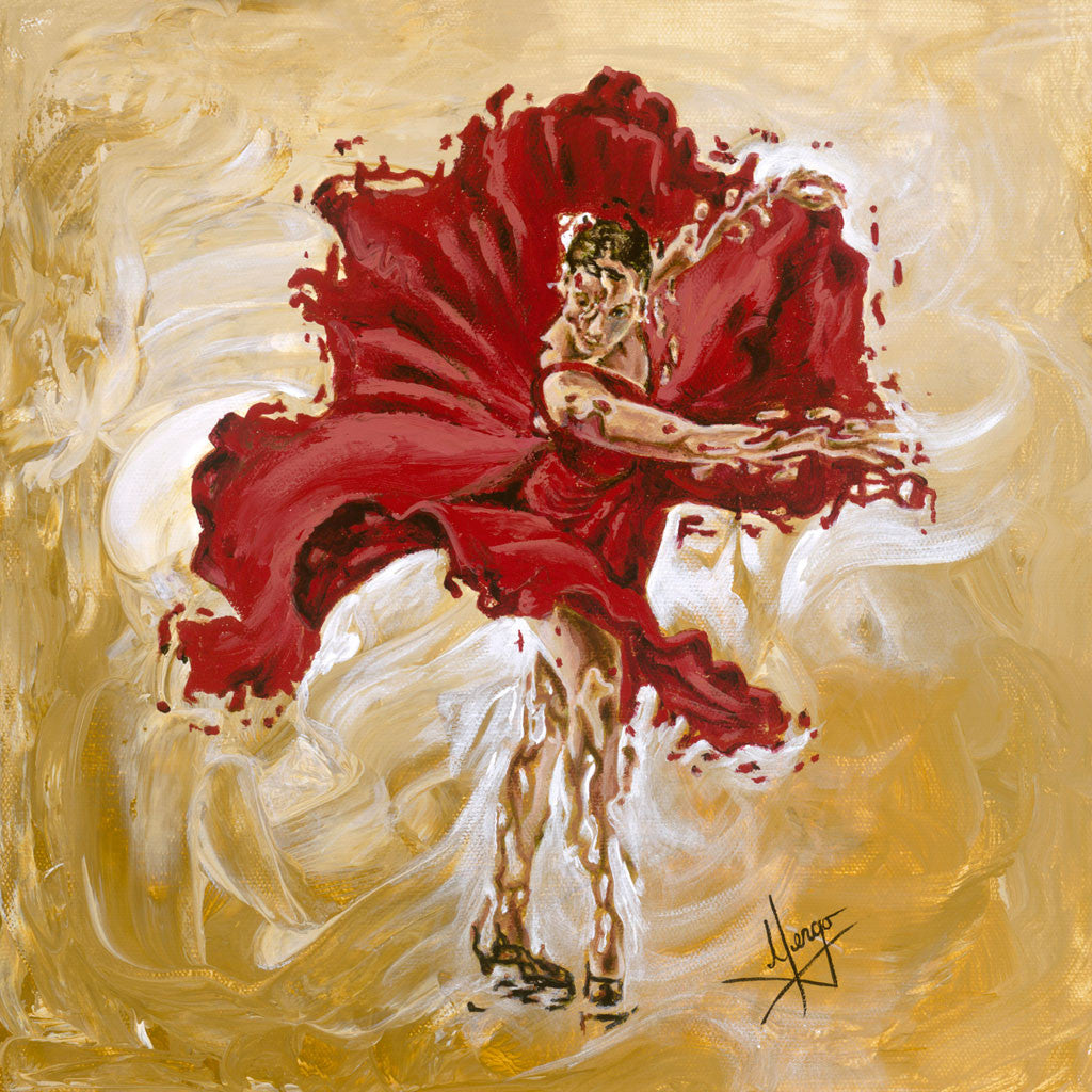 Figurative painting of a dancer with red dress and ochre color in the background
