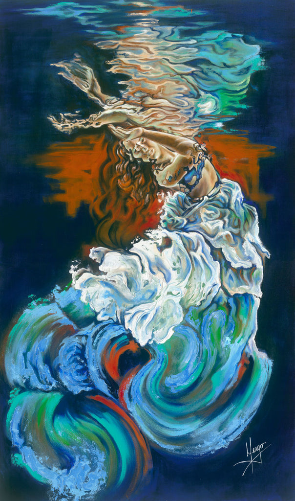 Figurative abstract painting of a woman floating underwater, blue, orange, and white colors